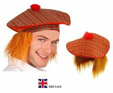 SCOTTISH TARTAN HAT WITH GINGER HAIR Stag Night Adult Mens Fancy Dress Wig UK