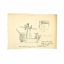 Old Original Antique Drawing Cinque Ports Seal Yarmouth Sailors Sailing Vessel