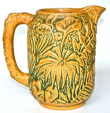 "WELLER MARKED 8"" BEIGE MARVO PITCHER with SHARP MOLD DETAIL and VIBRANT COLOR"