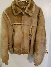 Gino Leathers Shearling Bomber Coat Jacket Men's 44 Marlboro Man Brown Zip Front