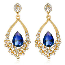 Shiny Royal Blue Crystal Gold with White Rhinestones Chandelier Drop Earrings