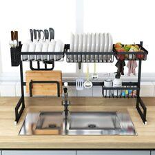 Over The Sink Dish Drying Rack Drainer Shelf Black Utensil Holder Kitchen Large