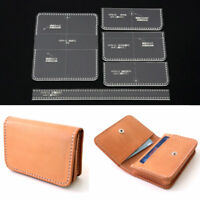 5 Pcs Acrylic Clear Card Bag Purse Wallet Stencil Template DIY Leather Craft