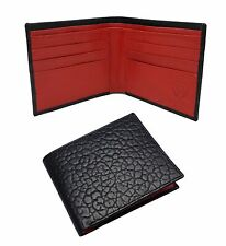 MENS DESIGNER BLACK / RED CROCODILE REAL LEATHER WALLET CREDIT CARD HOLDER PURSE