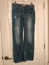 YMI Women's Icon Bootcut Jeans Ripped Distressed Size 1 Thick Stitch Flap Pocket