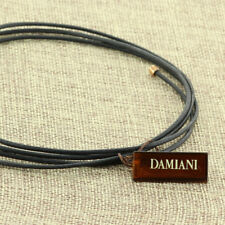 DAMIANI 2.0 MM BLACK LEATHER CORD CHOKER WRAP NECLKACE 18K PINK ROSE GOLD