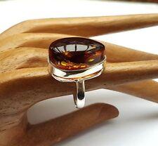 925 Silber, Bernstein Ring, Cognac Gr. 56,5 (481)
