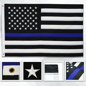 Embroidered Thin Blue Line Flag 2x3ft Thin Line Flag Support Police Blue Lives