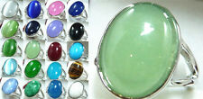 Stunning green pink red purple blue jade black agate bead 18KGP ring(#7,8,9)