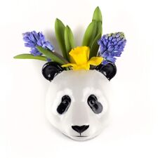 More details for quail ceramics panda head wall mounted flower vase in black & white