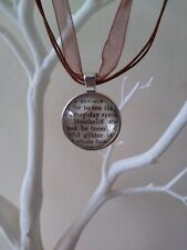 Vintage Emily Bronte 'Wuthering Heights' Cabochon Tibetan silver organza chain