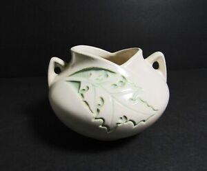 Vtg ROSEVILLE ART Pottery PLANTER VASE SILHOUETTE Ivory Rose Leaf Green 741 USA