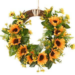 Artificial Sunflower Wreath Flower Wreath Door Hanging Wedding Party Home Decor