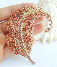 "Feather Brooch Pin Pendant Ee05065C5 Elegant 3.35"" Red Rhinestone Crystal Leaf"