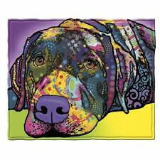 Yellow Purple Colorful Artwork Black Lab Dog / Puppy Soft Fleece Throw Blanket