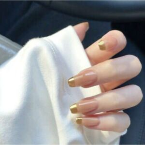 24 Pcs Nude French Fake Nails Gold Tips Square Press on Nails Full Faux Ongles