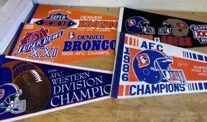 Lot Of 5 Denver Broncos Pennants 1987 AFC Champ 1986 AFC champ 1996 AFC champ