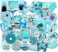 5 large Blue Stickers ~ Waterproof Vinyl Hydro Flask Laptop Vsco Bomb Decals