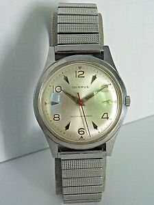 SUPER CLEAN MENS EARLY BENRUS Cal. 3061 SILVER DIAL MECHANICAL WINDUP WRISTWATCH