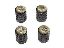20 Gauge Bullet Shell (Image Only) Ammo Tire Rim Wheel Valve Stem Caps Black