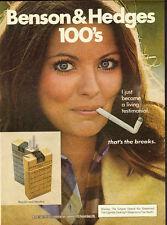 1977 Benson & Hedges 100's`Sexy Model` Print Ad