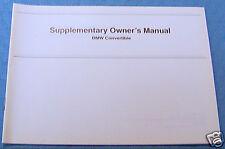 bmw e36 owners manual Convertible top Supp Original e 36  1992 1993 1994 1995