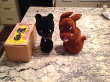 2 Vintage Piggy Banks Rossini Made In Japan Dog Cat Felt Velvet Bobble 60's Neat