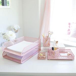 Blu Monaco Pink 6 Piece Cute Desk Organizer Set - Cute Office Desk Accessories