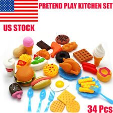 34 Pcs/Set PRETEND PLAY KITCHEN SET Toys For Kid Toddler Children Food Cooking