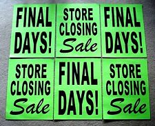 6 Paper Window Signs STORE CLOSING SALE & FINAL DAYS! Black on Green