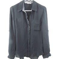 Diane Von Furstenberg DVF Silk Blouse Womens Black Long Sleeve