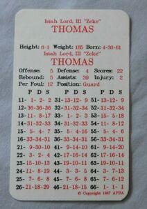 1986 APBA Isiah Thomas Detroit Pistons Basketball Card