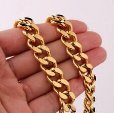 Curb Chain Men's Necklace Chain Biker Gold Stainless Steel Smooth 10mm 24''
