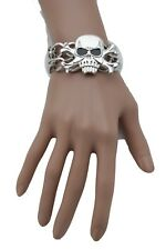 New Women Silver Metal Chain Fashion Jewelry Skeleton Skull Pirate Bone Bangle
