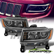 [LED Bar] 2014 2015 2016 Jeep Grand Cherokee LED Projector Black Headlights Pair