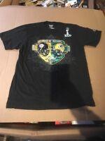Packers Steelers NFL Official Super Bowl XLV 2011 Black Tee Mens M Med