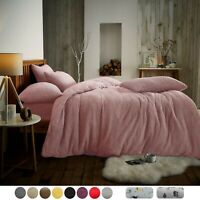 TEDDY FLEECE DUVET COVER   Thermal Quilt Bedding Set   Fitted Sheet   Soft Cosy