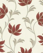 Floral Glitter Textured Wallpaper Red Gold Cream Beige Holden Decor