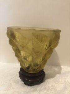 R Lalique Amber Glass Vase