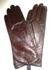 Grandoe Ladies Lambswool Genuine Leather Gloves,Brown, Medium