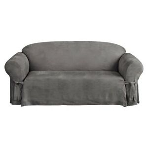 Suede Sofa Slipcover - Sure Fit GREY plus 20 twist pins