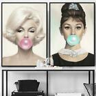 Marilyn Monroe Chewing Bubble Gum Canvas Prints Wall Art Picture Audrey Hepburn