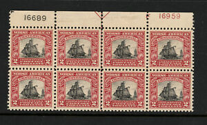 SCOTT 620 1925 2 CENT NORSE AMERICAN ISSUE PLATE BLOCK OF 8 MH OG VF CAT $160!