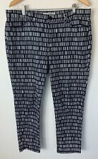 Sportscraft Size 16 Thea Ankle Jean Navy White Pattern Crop High Waisted Pants