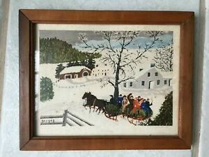 "Grandma Moses ""So Long"" Winter Sleigh Scene Wood Frame Mid Century Print 8x10"""