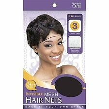 Qfitt Invisible Mesh Hair Nets Comfortable Elastic Edge Wig Caps #505 Black