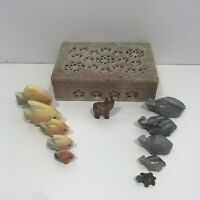 "Vintage Hand Carved Pink Soap Stone Box With Carved Fish Turtles Wolf 6""x4"""
