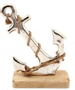 Distressed Silver Coloured Effect Anchor on Decorative Wooden Block Ornament