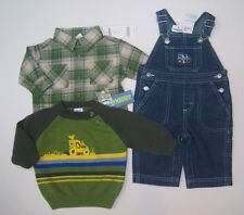 NWT Gymboree Tractor Company 3-6 Months Denim Overalls Flannel Shirt & Sweater