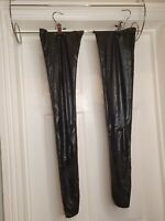 SEXY BLACK STOCKINGS HOLD UPS, PVC, WET LOOK, FAUX LEATHER SHINY THIGH HIGH